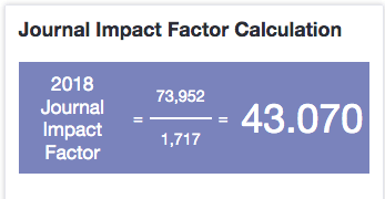 Calculation of the Impact Factor of the journal Nature, as displayed in Journal Citation Reports. 2018 Journal Impact Factor = 73952/1,717 = 43.070