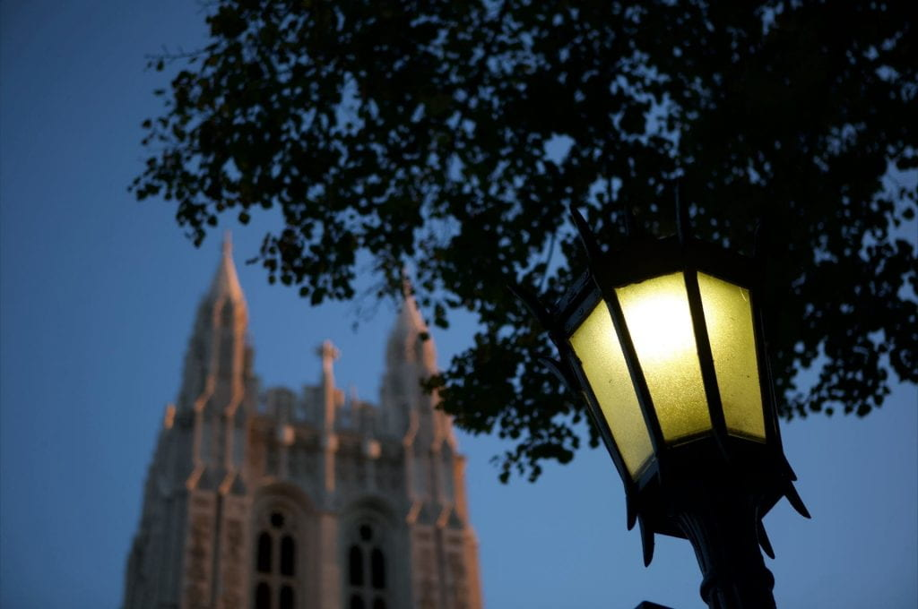 Gasson hall with lamp
