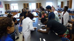 Photo of students working at the ASC lab