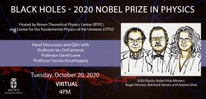 Black Holes Event Flyer for October 20th, 2020