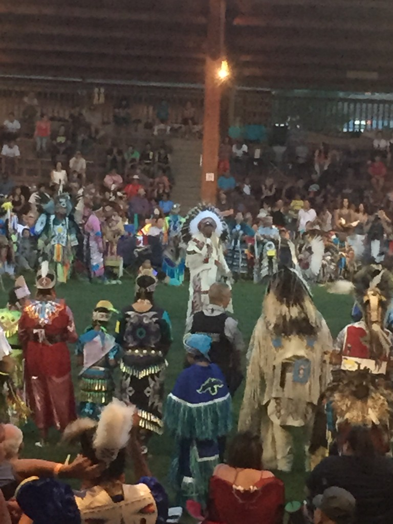 Chief Shane Gottfriedson addressing the Powwow in Kamloops, BC, August, 2015