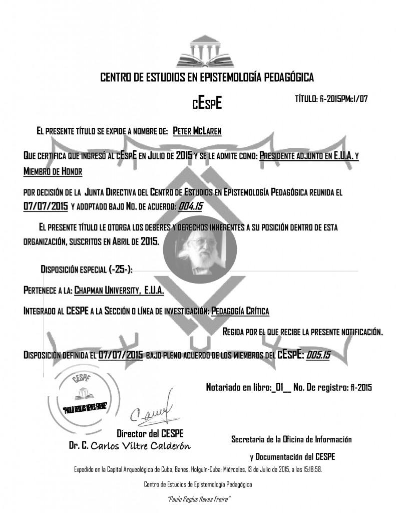 Peter has been named Adjunct President for the United States and Honorary Member of  Centro de Estudios en Epistemología Pedagógica Holguín, Cuba