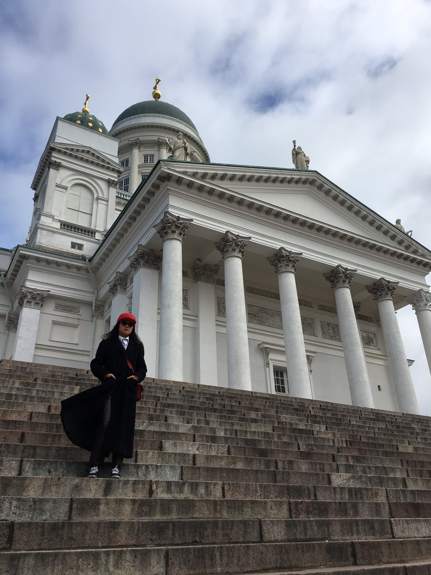 Angie at cathedral in Helsinki