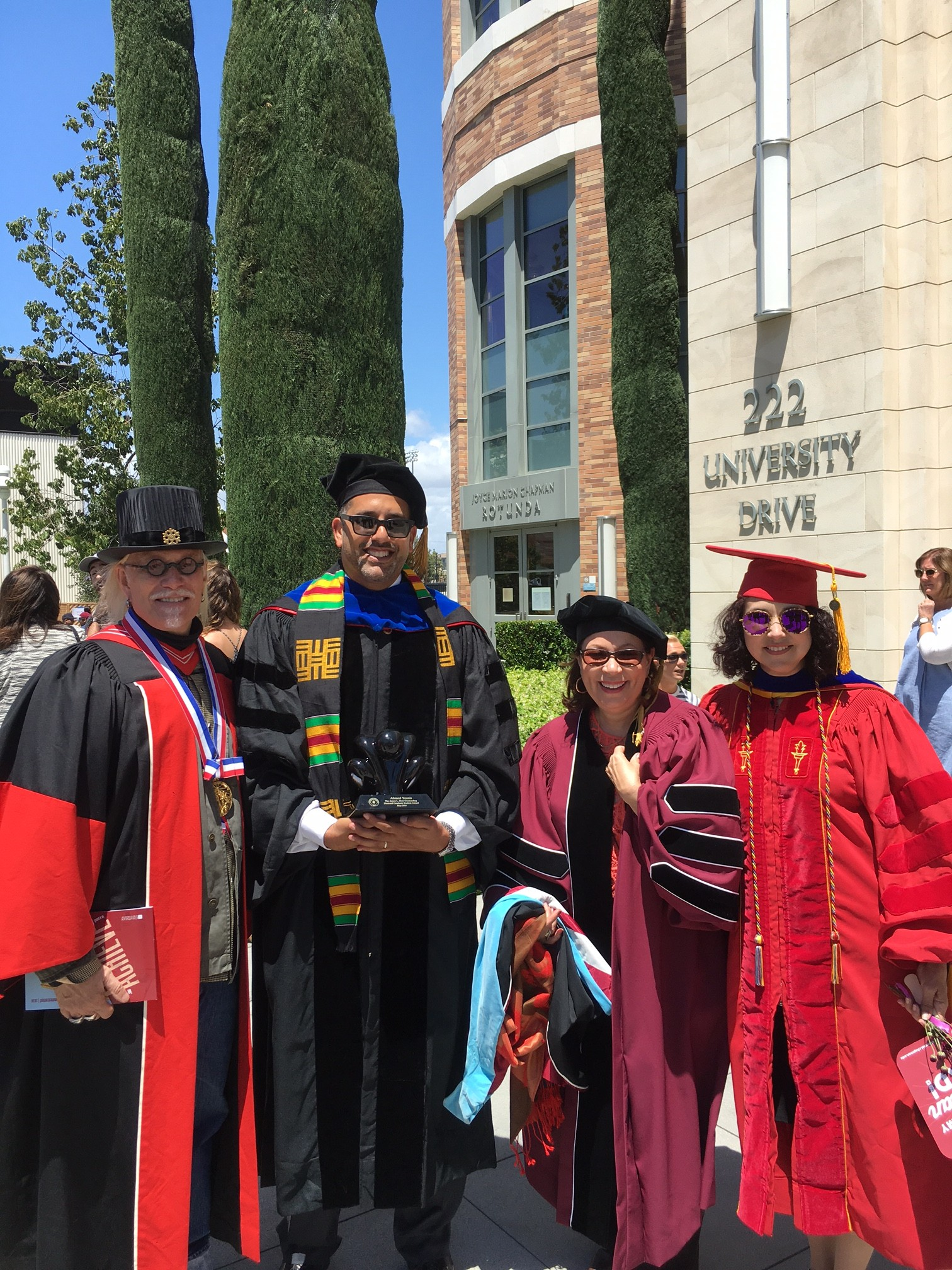 2016 Chapman University Graduation with Ahmed Younis, Lilia, and Anaida