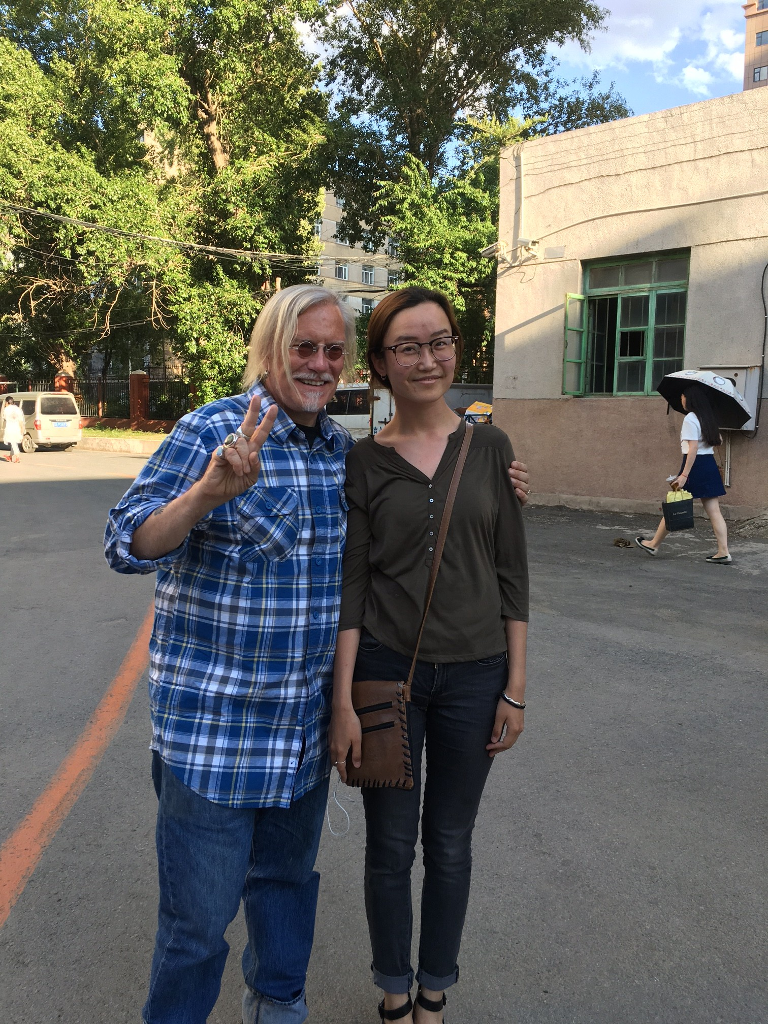 Peter with student in China