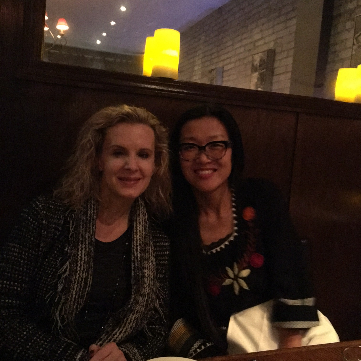 Angie with Susan Searls Giroux at Toronto Restaurant