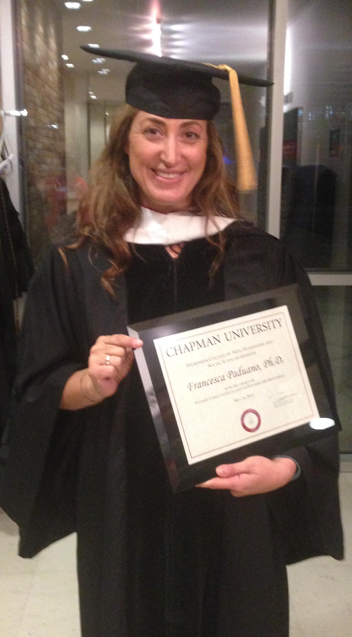 Italian Florence: Dr. Francesca Paduano Receives Prestigious Chapman