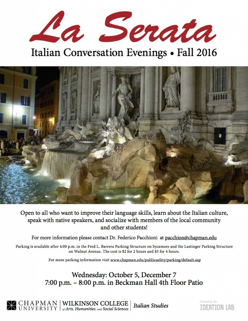 Italian Florence: La Serata – Join Us This Fall