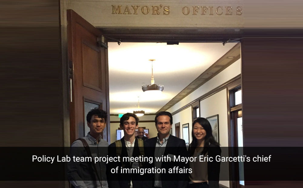 Policy Lab team project meeting with Mayor Eric Garcetti's chief of immigration affairs