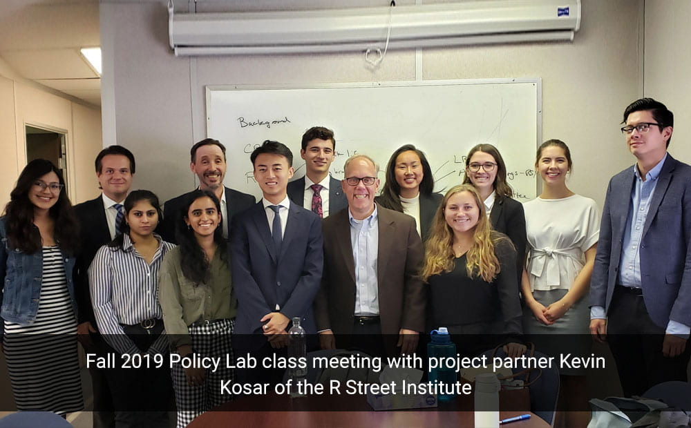 Fall 2019 Policy Lab class meeting with project partner Kevin Kosar of the R Street Institute
