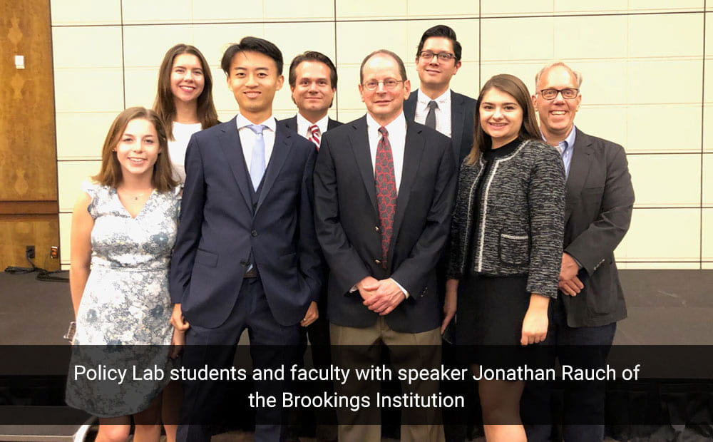 Policy Lab students and faculty with speaker Jonathan Rauch of the Brookings Institution