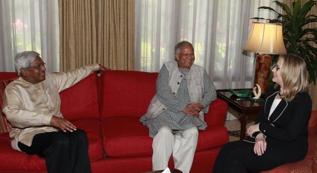 Hillary Clinton, Fazle Abed and Muhammad Yunus