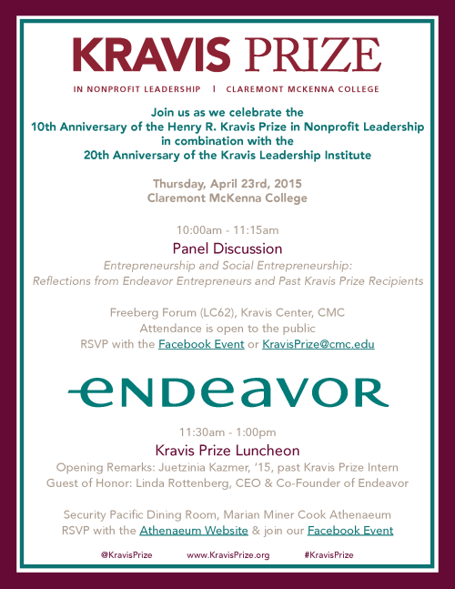 A full list of events to celebrate Kravis Prize, Kravis Leadership Institute anniversaries