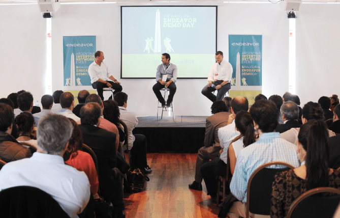 Investor demo day: Fernando Fabre (onstage, far left) at a recent Endeavor event in Buenos Aires.