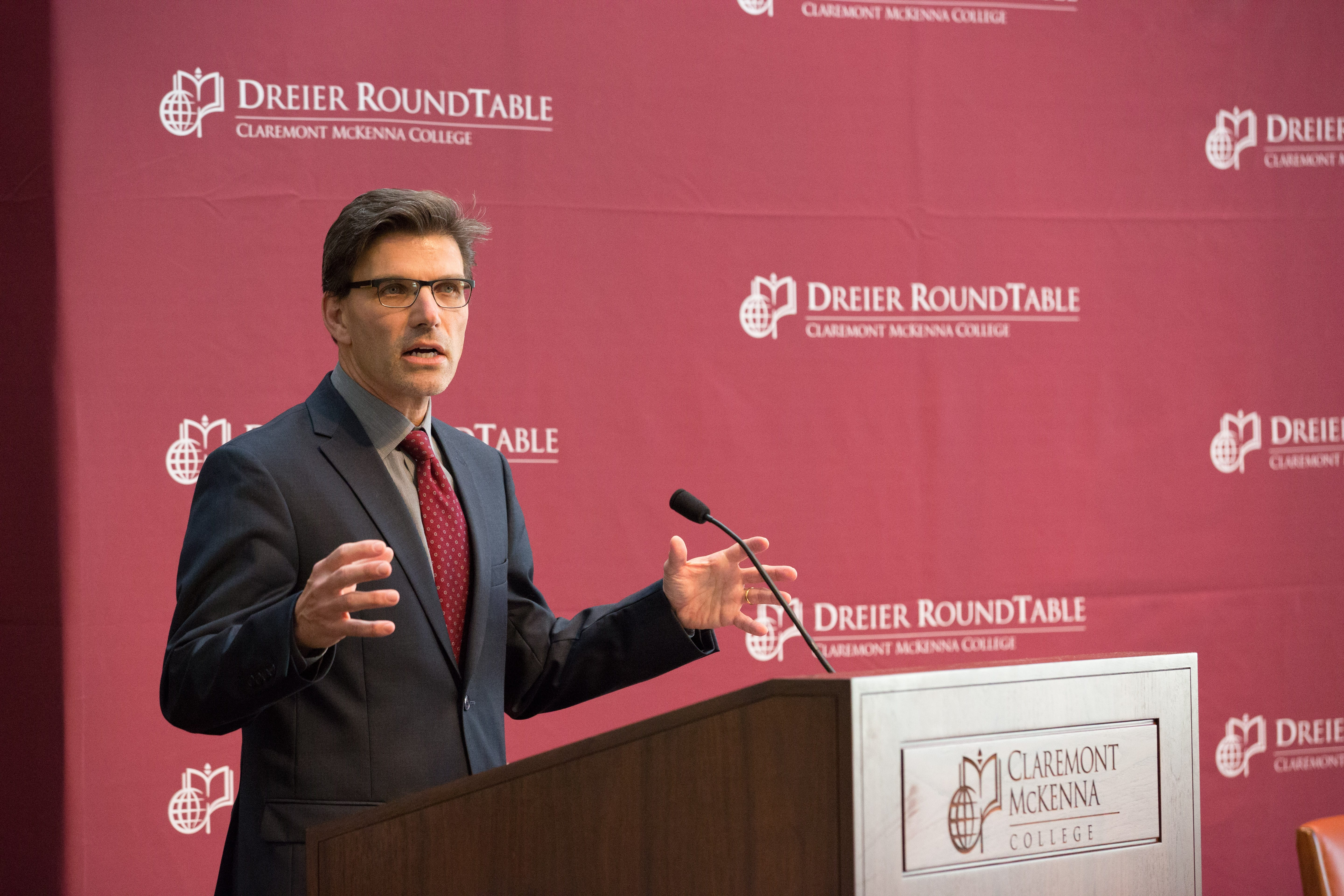 President Hiram Chodosh speaking about the Dreier Roundtable.