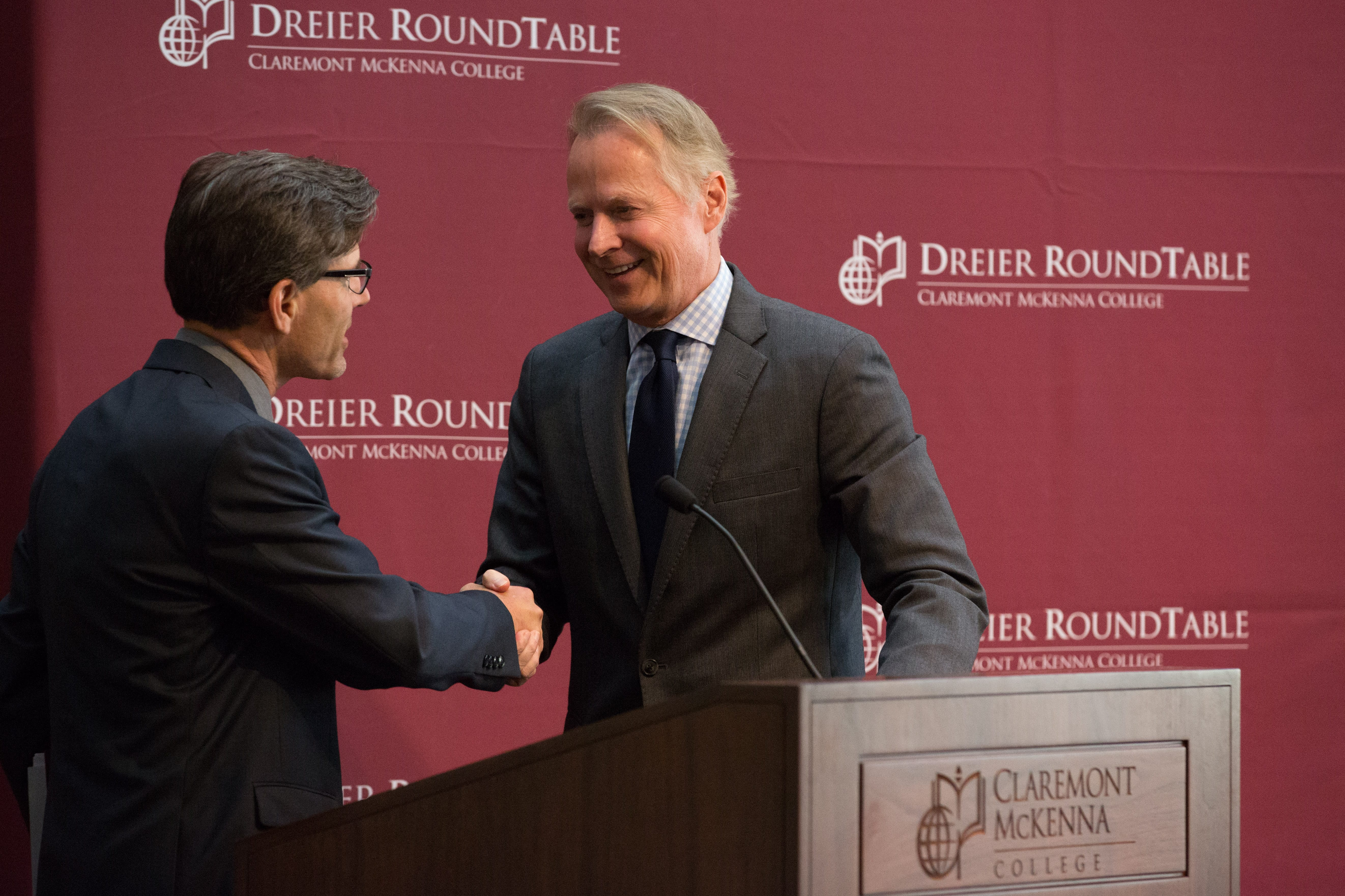 President Chodosh welcoming David Dreier.