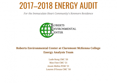 2017-2018 Energy Audit for the Immaculate Heart Community's Kenmore Residence