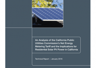 An Analysis of the CA Public Utilities Commission's Net Energy Metering Tariff and the Implications for Residential Solar PV Power in CA Front Cover
