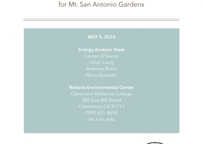 Hvac and Solar Economic Analysis for Mt. San Antonio Gardens Cover Page