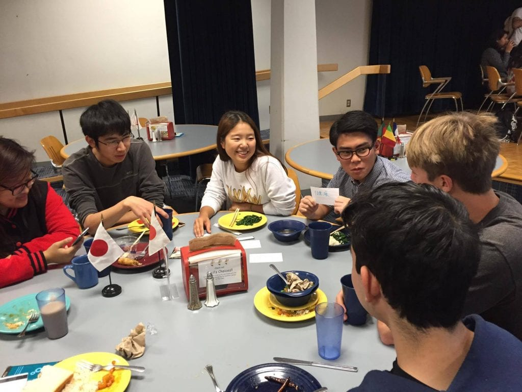 EnviroLab Asia integrates language learning with environmental issues. Students at the Japanese Conversation Table at Oldenborg Center discuss environmental issues in Japanese.