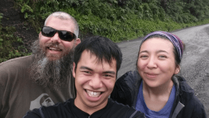 "Director of the Bernard Field Station and Assistant Professor of Biology Wallace ""Marty"" Meyer, Johann Lim, and Stephanie Steinbrecher (SCR '16)"
