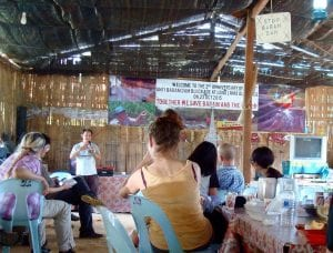 Philip speaking at the lunch meeting with Dayaks at the first blockade site. Photo by Stephanie Steinbrecher.