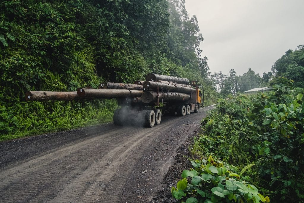A logging truck passes 'Kilometre 15' - a protest site and blockade against the proposed Baram Dam in Borneo, Malaysia.Photo by Tom White.