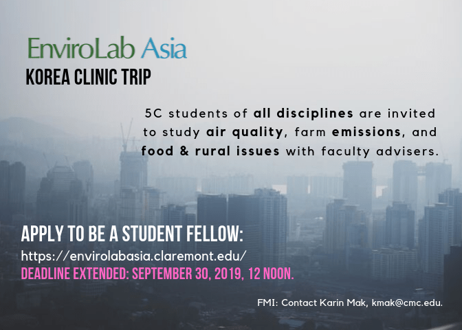 Apply to be an EnviroLab Asia Student Fellow – Korea Clinic Trip – due date extended until Sept. 30, 12noon