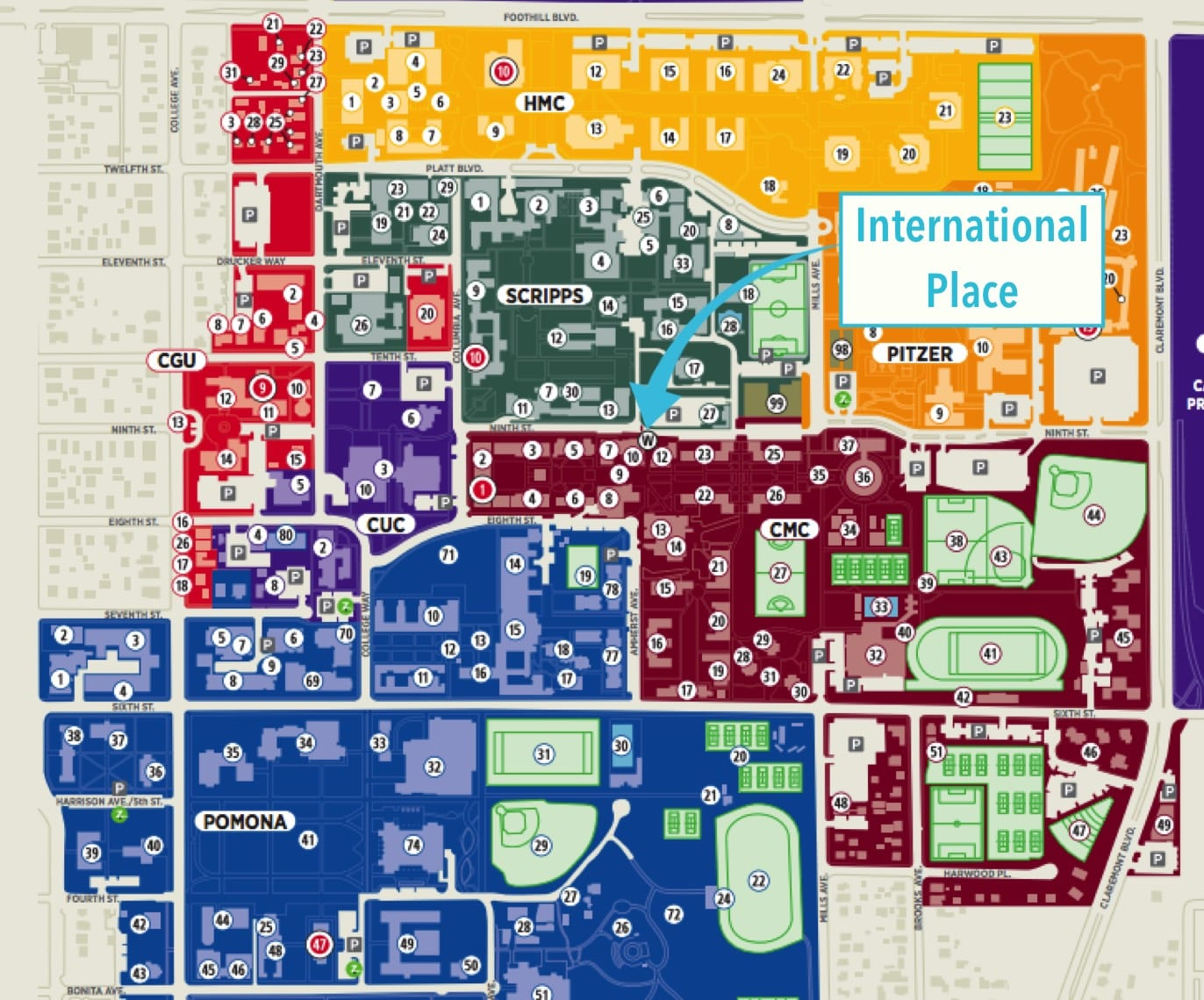 Claremont Colleges Map Contact Us – International Place of The Claremont Colleges