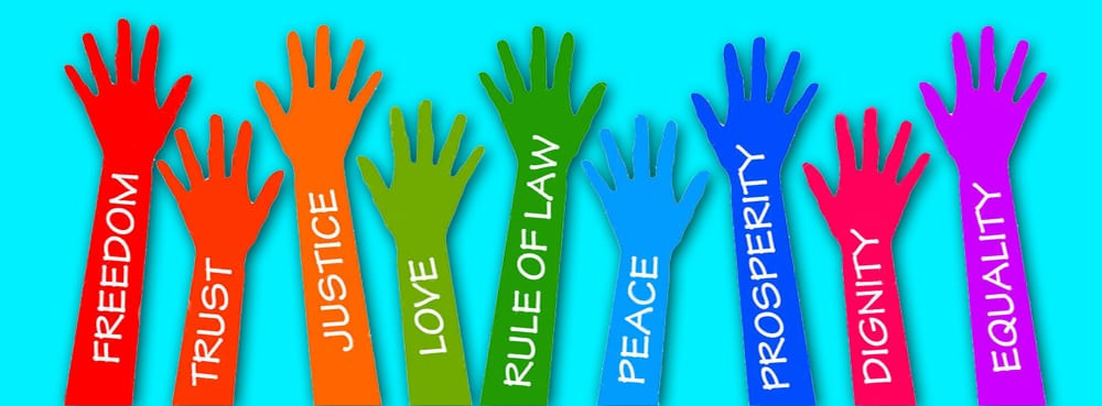 hands up with freedom, trust, justice, love, rule of law, peace, prosperity, dignity, equality