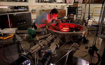 Jay Angel, aligns and calibrates the Zeeman Polarization Spectroscopy