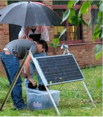 solar panel powering seismometer