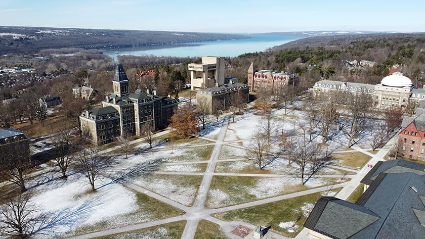 Aerial photograph of Cornell's Arts Quad