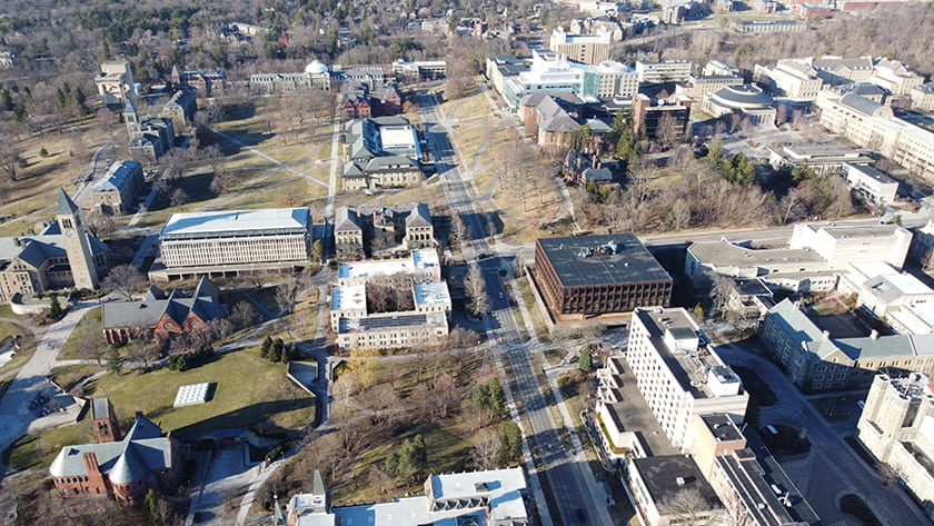 Aerial photograph of Cornell's Central Campus looking toward North campus.