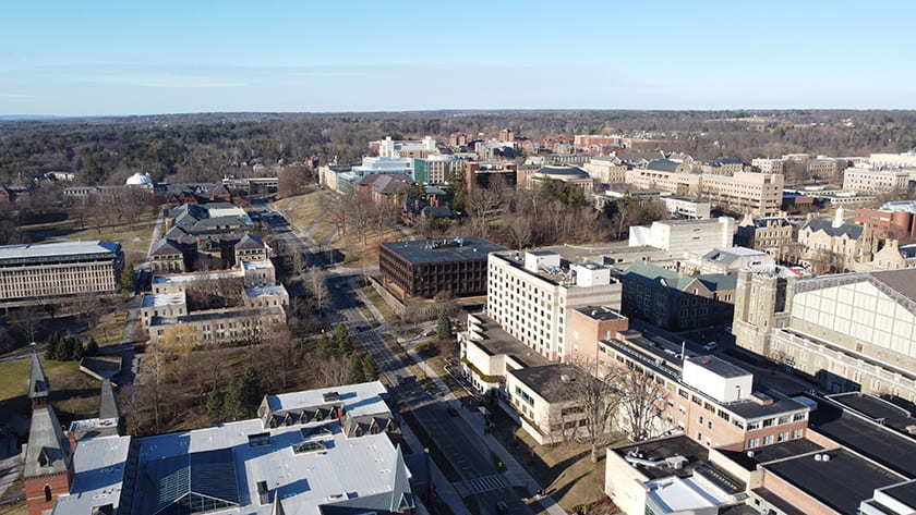 Looking north along East Avenue towards the Agriculture Quad and North Campus. Drone photo by Scott and Cal.