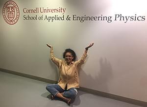 Cornell Engineering student Katie sitting in hallway