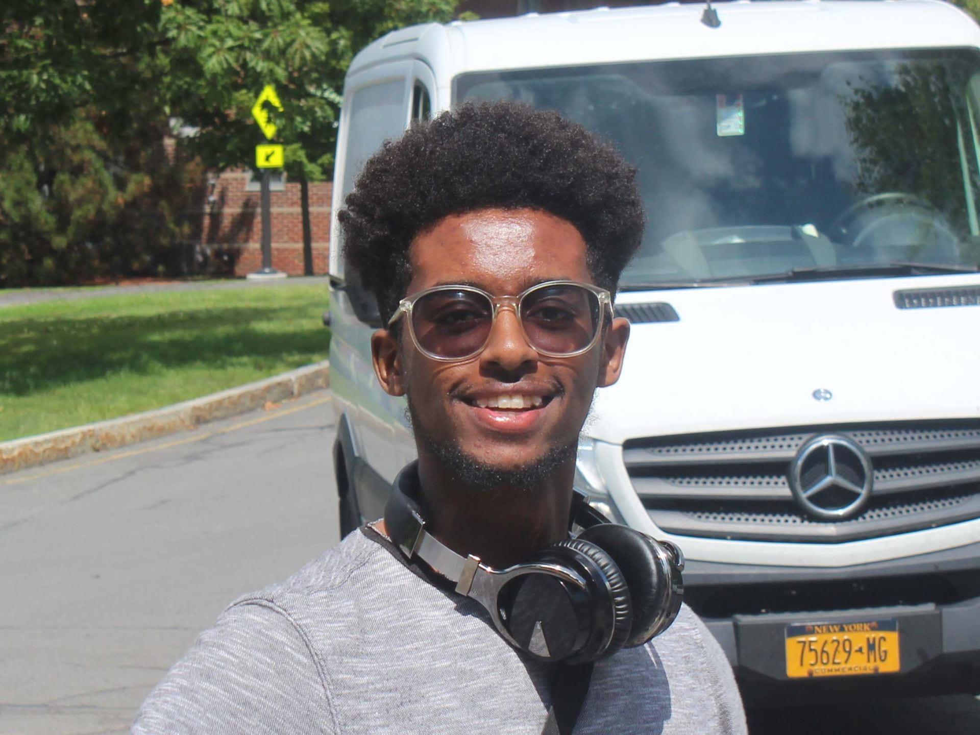 A photograph of Cornell Engineering student Temesgen