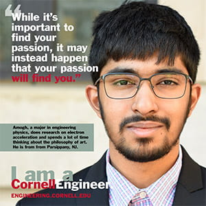 A photograph of a poster with a Cornell student on it.