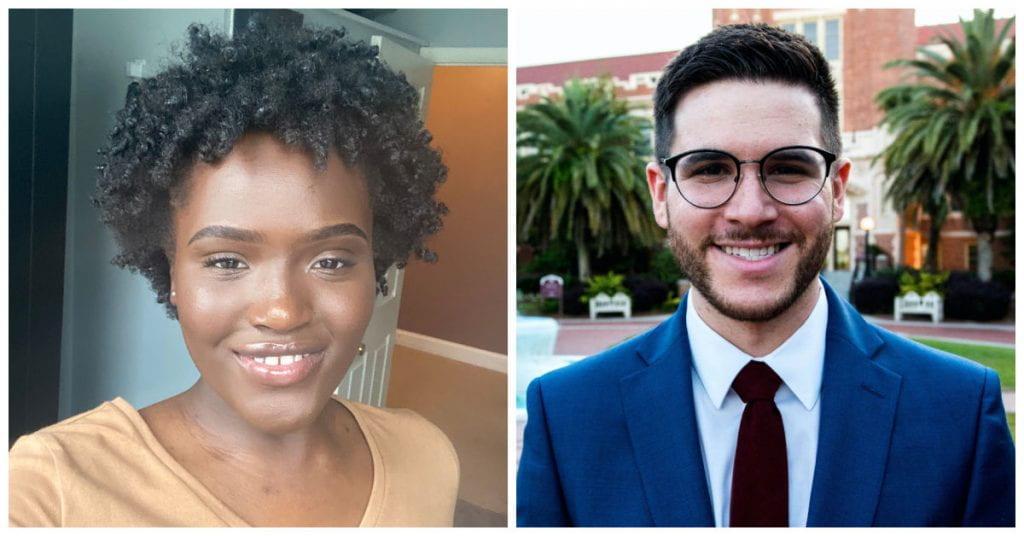 Portraits of two students Cira Diop and Jon Albo