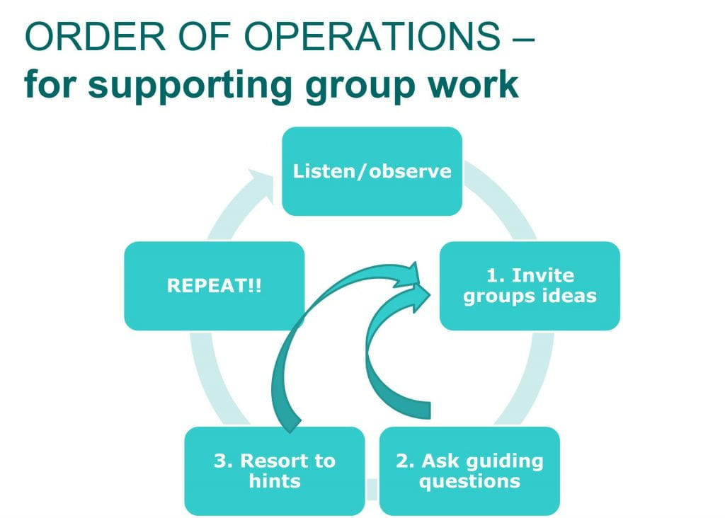 General order of operations for facilitating group work using 'guide from the side' strategies.