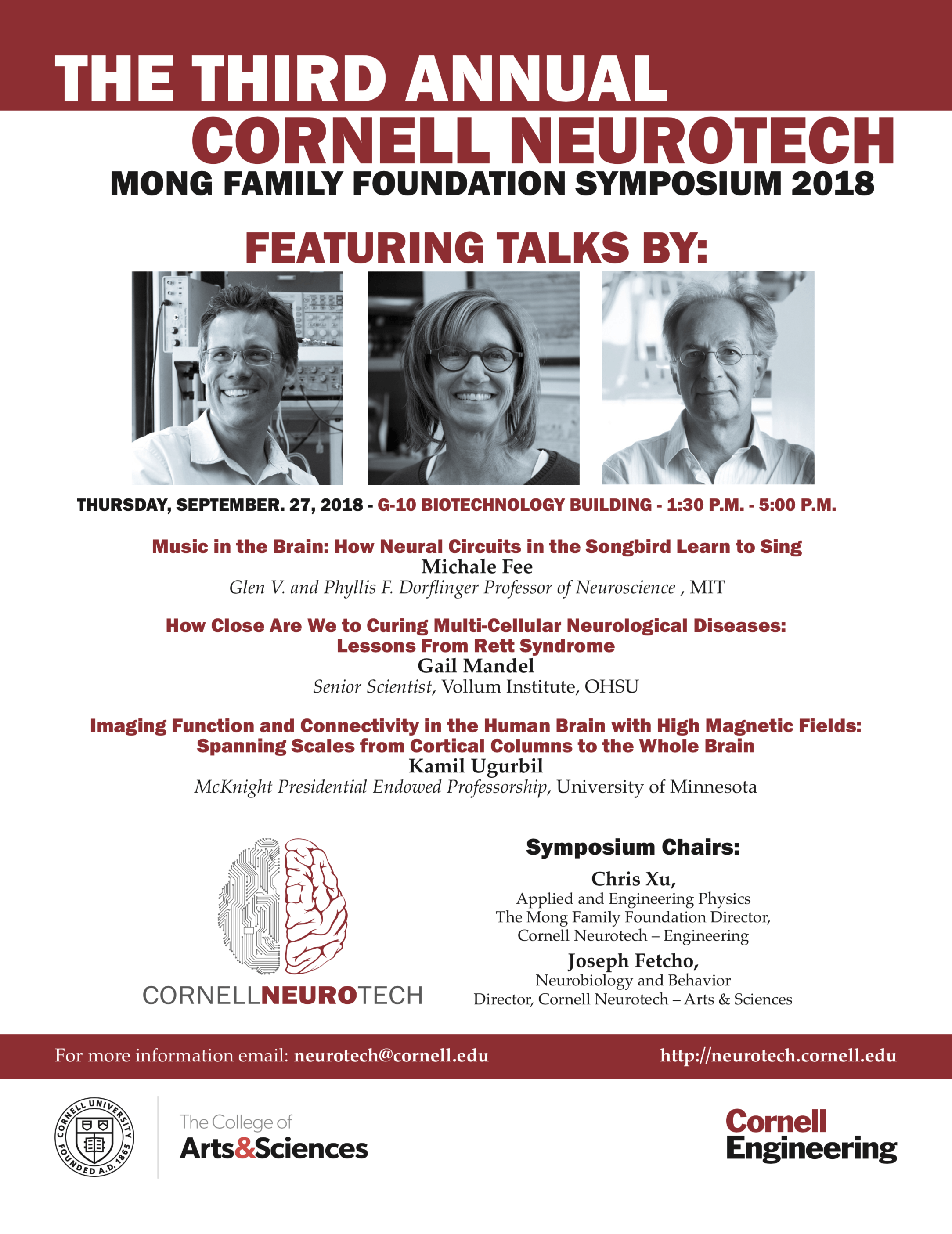 2018 Mong Family Foundation Symposium on Thursday, September 27 in G-10 Biotechnology Building from 1:30 PM to 5:00PM.
