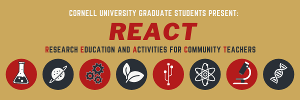 Research Education and Activities for Community Teachers (REACT): REACT is a free online science workshop for educators in New York. The event consists of research-focused talks, lab tours, and fun at-home experimental or computational activities in the topics of physics, chemistry, engineering, and materials science.