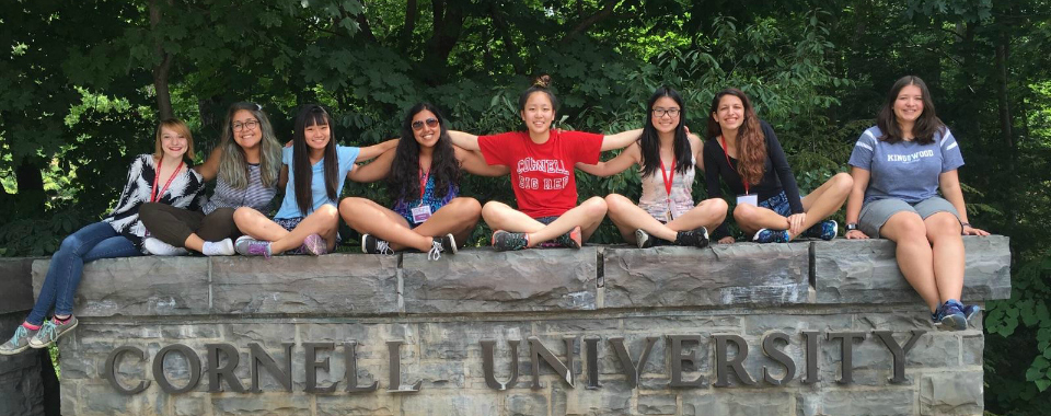 CURIE participants sit atop Cornell sign