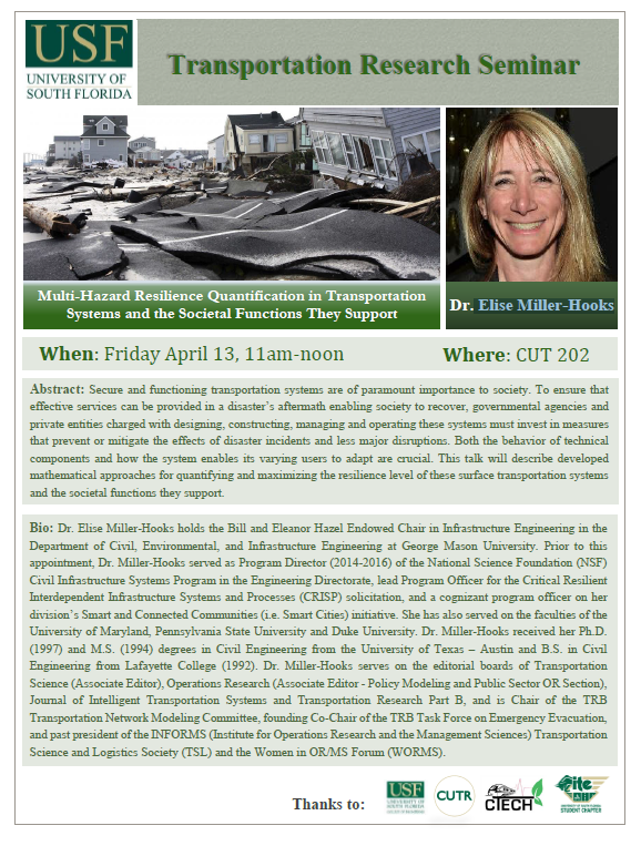 USF Transportation Research Seminar Flyer