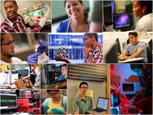 Collage of 13 students in their research settings