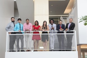 Group photo of eight LSAMP REU participants from 2015