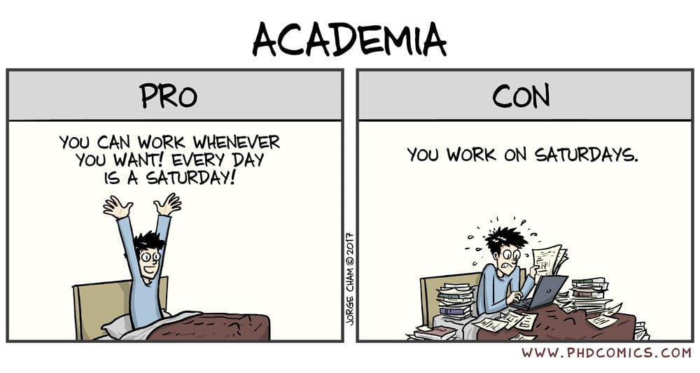 Ph.D. Comic about Academia: Pro - you can work whenever you want, every day is a Saturday; Con - you work on Saturdays