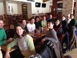 The Putnam lab grabs lunch during a group outing to Greek Peak. Thanks Dave!