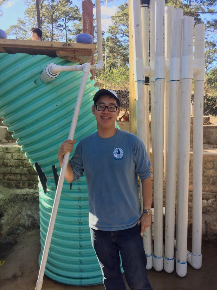Andrew Kim in Honduras with the AguaClara 1 Liter/s demo pilot plant