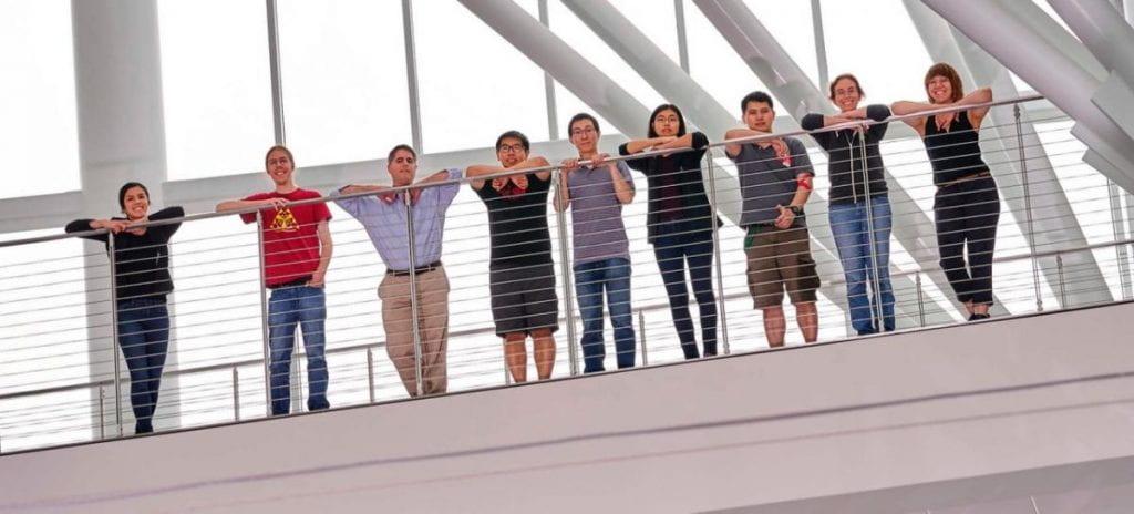 Photo of Group on the bridge in the PSB Atrium
